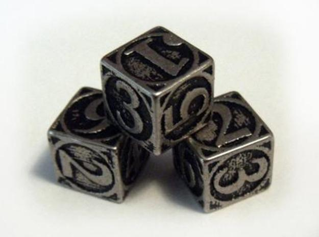 Circle Theme Die6 3d printed Stainless steel and inked.