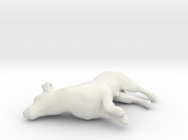 1/12 Jack Russell Terrier Lying 3 in White Strong & Flexible