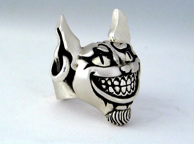 Evil Cheshire Cat - Alice in Wonderland in Natural Silver