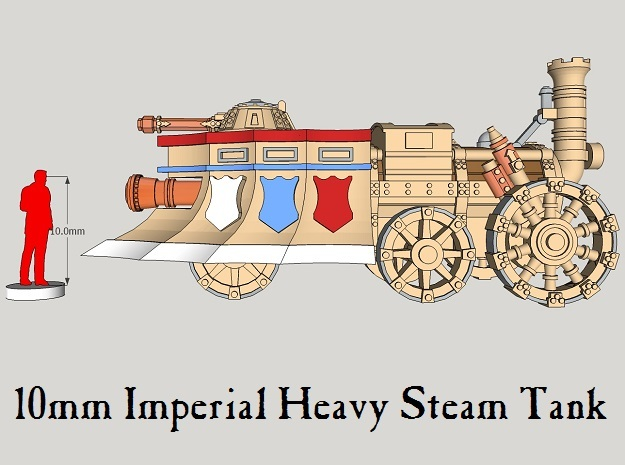 10mm Imperial Heavy Steam Tanks (3pcs) in Smooth Fine Detail Plastic