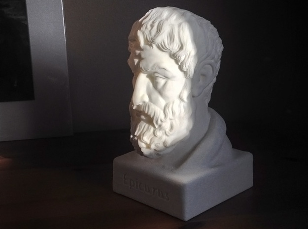Epicurus Bust 6 inches in White Strong & Flexible
