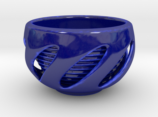 Twisted Hole Cup in Gloss Cobalt Blue Porcelain