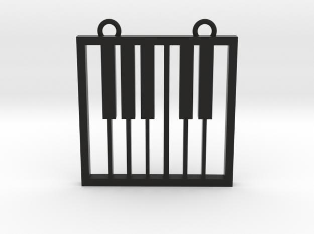 Music Pendant -  Piano Keys in Black Natural Versatile Plastic