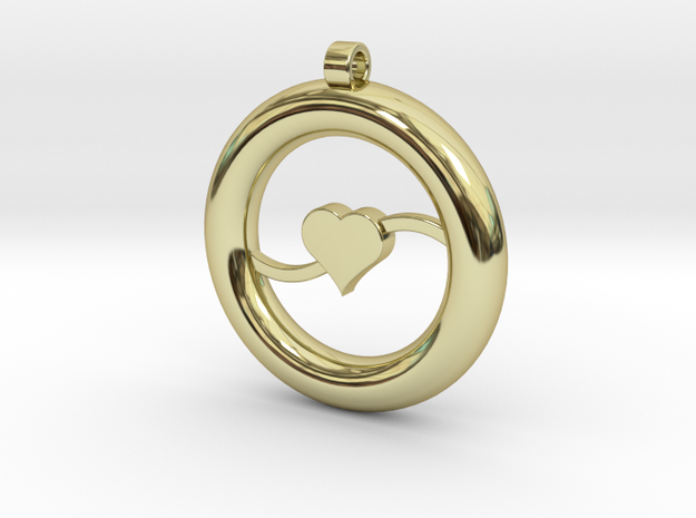 Ring Pendant - Heart in 18k Gold Plated Brass
