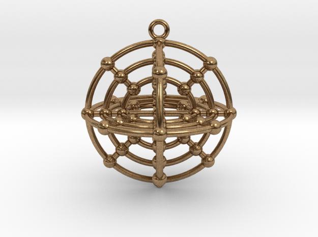 Six Medicine Wheel 3D in Natural Brass