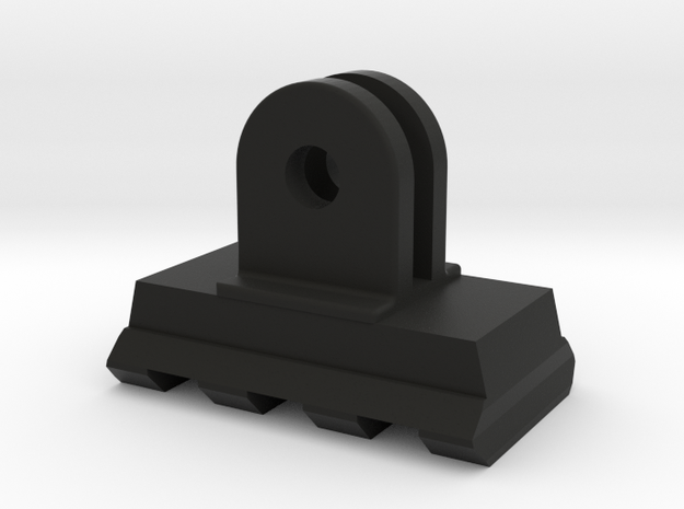 Picatinny Rail to GoPro Mount Adapter (Forward Til in Black Natural Versatile Plastic
