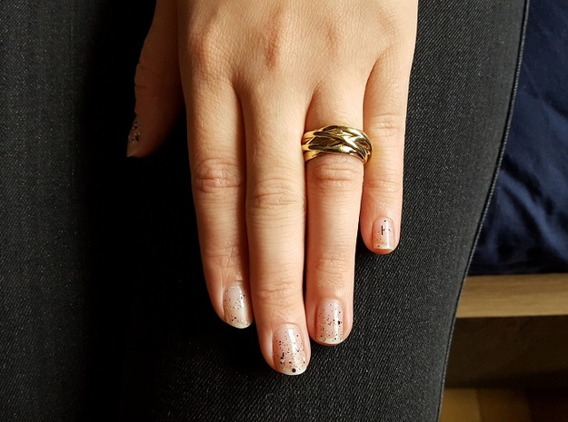 Knots Band Ring in Polished Brass: 6.5 / 52.75