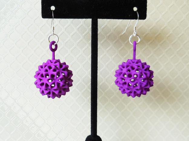 Virus Ball -- Plastic Earrings in Purple Strong & Flexible Polished