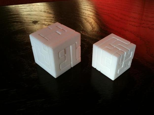 Switch Cube (2.4 cm) 3d printed 2.4 cm cube on the right