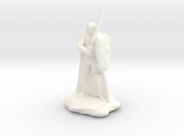 Human Ranger with Sword and Shield in White Processed Versatile Plastic