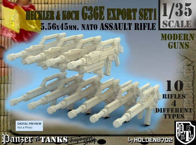1-35 Heckler Koch Rifle G36E Export Set1 in Frosted Extreme Detail