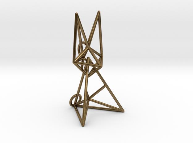 Wireframe Bunny in Natural Bronze (Interlocking Parts)