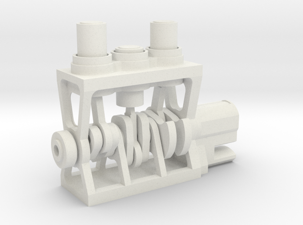 3D Printed Engine in White Strong & Flexible