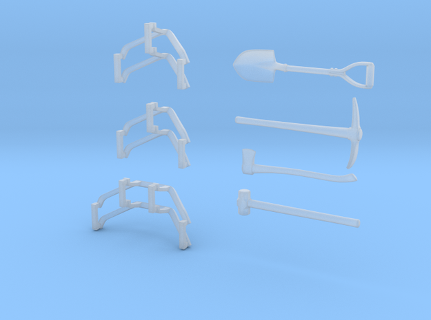 M113 Antenna Guards and Tools 1:30 scale in Smooth Fine Detail Plastic