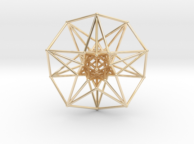 5 Dimensional Toroidal HyperCube 42mm in 14k Gold Plated
