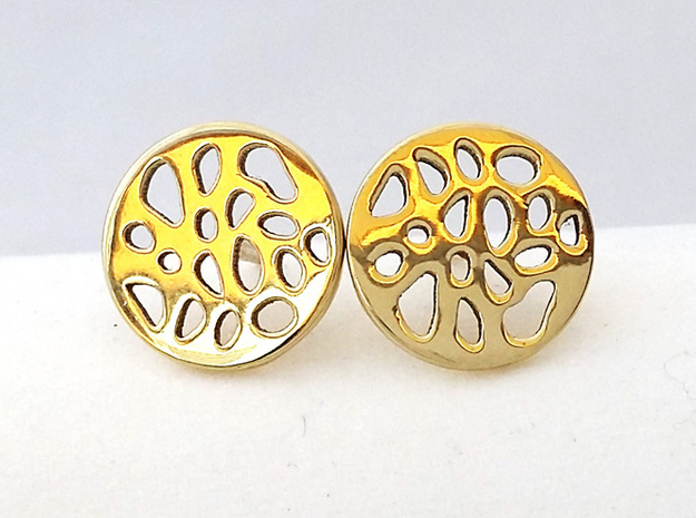 EARRINGS STUD LOBULAR  in Polished Brass