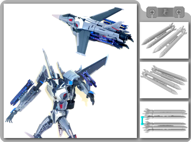 TFP Starscream Missiles in White Strong & Flexible