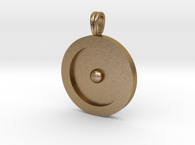 Circumpunct Dot Circle symbolic Jewelry Pendant in Polished Gold Steel