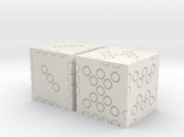 2-dice 3d6 in White Natural Versatile Plastic