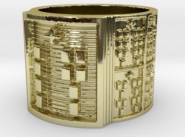 OJUANISHOBE Ring Size 13.5 in 18k Gold Plated Brass