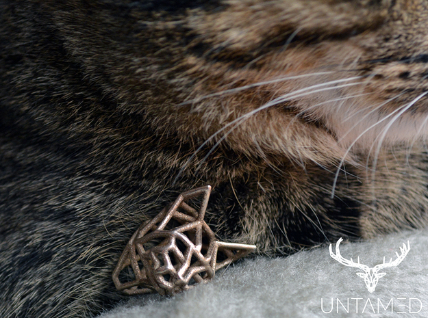 Untamed: The Cat Pendant in Polished Bronzed Silver Steel: Small