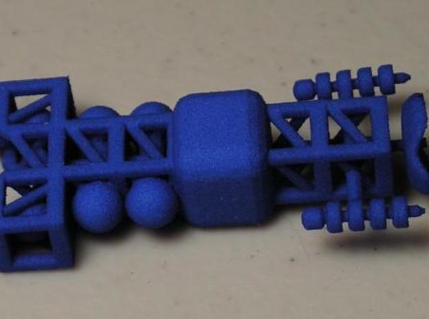8 Small Spaceship x8 3d printed Dyed Blue