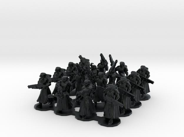 15mm Assualt Troops 16 w/ Flamethrowers in Black Hi-Def Acrylate