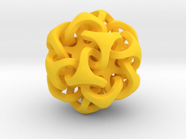 Interlocking Ball based on Icosahedron in Yellow Strong & Flexible Polished