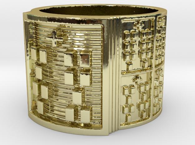OTRUPONBALOFUN Ring Size 14 in 18k Gold Plated Brass