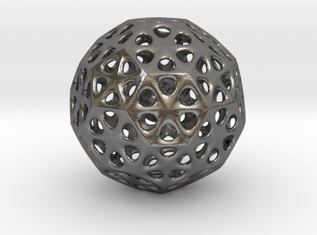Mystic Icosahedron, Enclosing Small Solid Sphere in Polished Nickel Steel