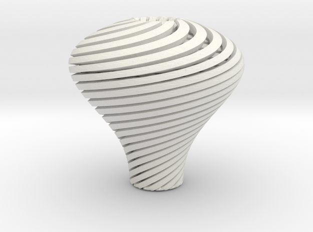 Pear Twisted Knob 3 1 in White Natural Versatile Plastic