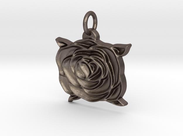 Heart rose V2 in Polished Bronzed Silver Steel