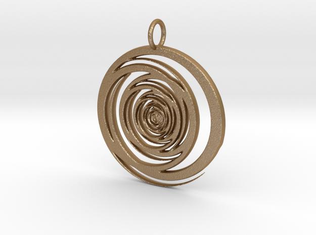 Abstract Vortex Swirl Pendant Charm in Matte Gold Steel