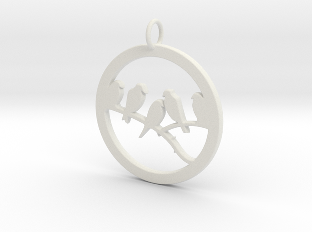 Birds In Circle Pendant Charm in White Natural Versatile Plastic