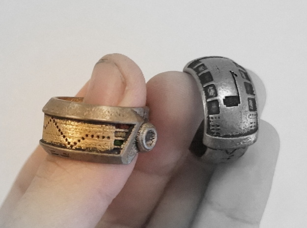 Robot Ring (Silver) in Black Natural Versatile Plastic