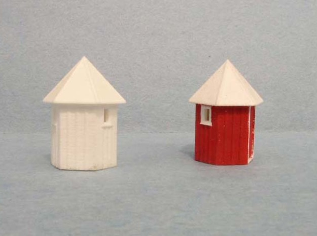 3 pack N scale Santa Fe Hexagonal Phone booth   in Frosted Ultra Detail