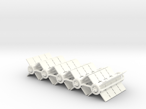 Spaceships - Freighters (5 pcs) - High Frontier in White Processed Versatile Plastic