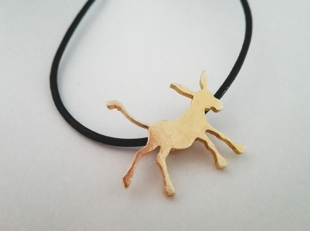 Donkey pendant in Natural Brass