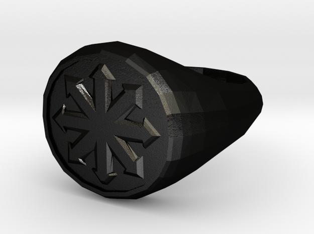 Men's Chaos Signet Ring in Matte Black Steel: 8 / 56.75