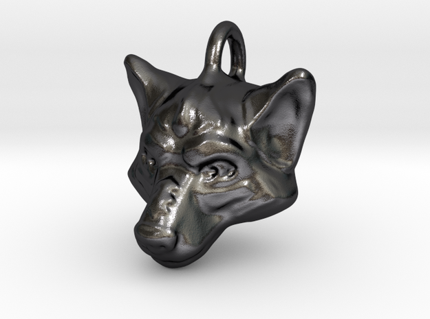 Wolf Pendant in Polished Grey Steel