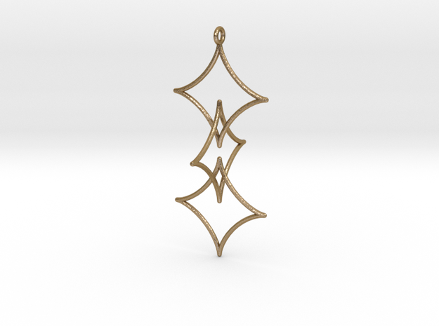 Interlocked Astroid Pendant in Polished Gold Steel
