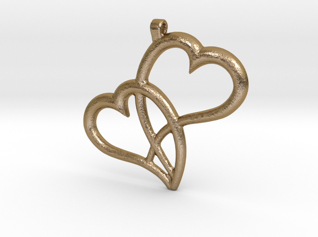 Hearts Pendant in Polished Gold Steel