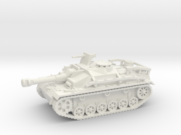 Sturmgeschutz III tank (Germany) 1/100 in White Natural Versatile Plastic