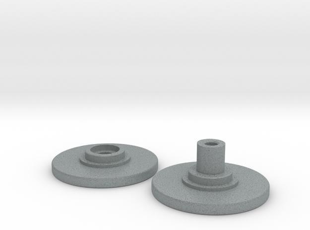 Spinner Caps - Screw Design (Pair) in Polished Metallic Plastic