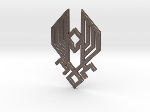 HZD Hawk Pendant in Polished Bronzed Silver Steel