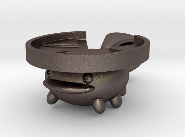 Lotad Pendant / Keychain in Polished Bronzed Silver Steel