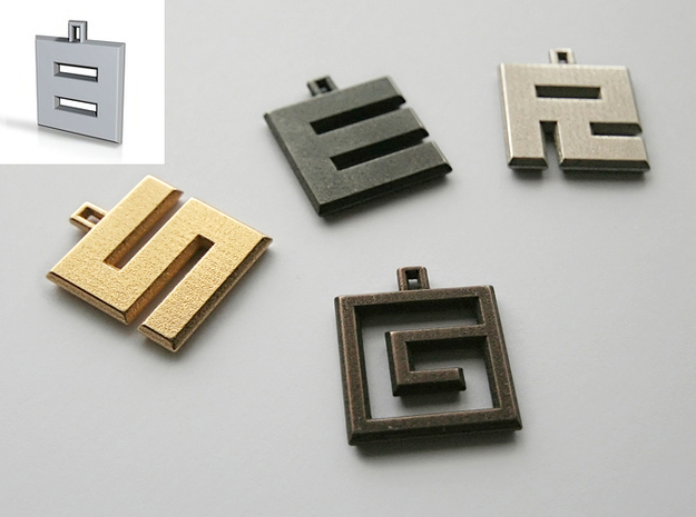ABC Pendant - 8 Type - Solid - 24x24x3 mm 3d printed