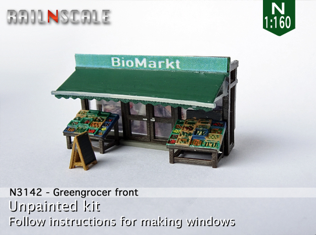 Greengrocer front (N 1:160) in Smooth Fine Detail Plastic
