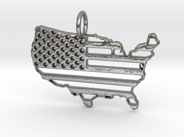 American USA Flag Map Pendant Charm in Raw Silver