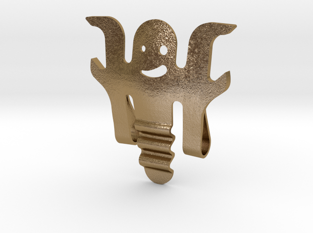 Earpiece cable winder wearable Bottle Opener  in Polished Gold Steel